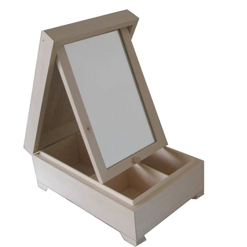 Plain Wooden Jewellery Box With Mirror Unfinished
