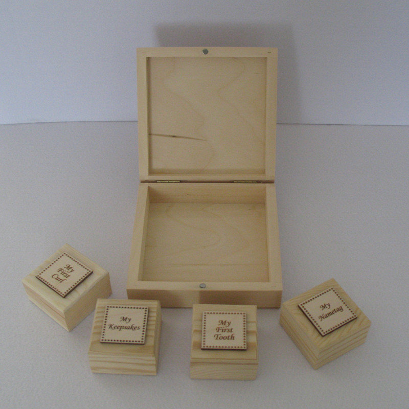 Plain Small Keepsake Box Set, First Curl, First Tooth Unfinished Wood Ready to Decorate