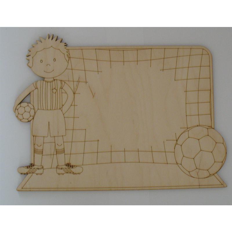 Plain, Craft Blanks Sign Plaque wood laser cut detail footballer boy