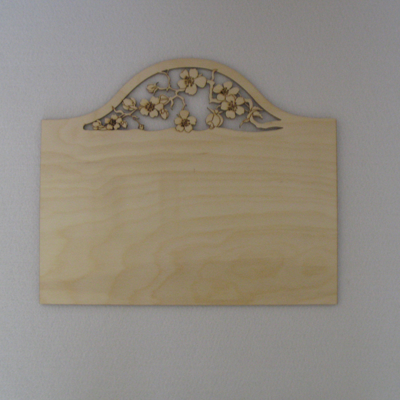 Plain Wood Craft Blank Plaques to paint & decorate Spray of Flowers