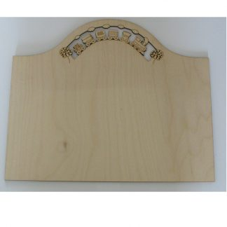 Plain wood sign plaque to decorate with train and carriages