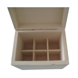 Small Plain Unfinished Aromatherapy Wooden Storage Box for 6 x 10ml oils