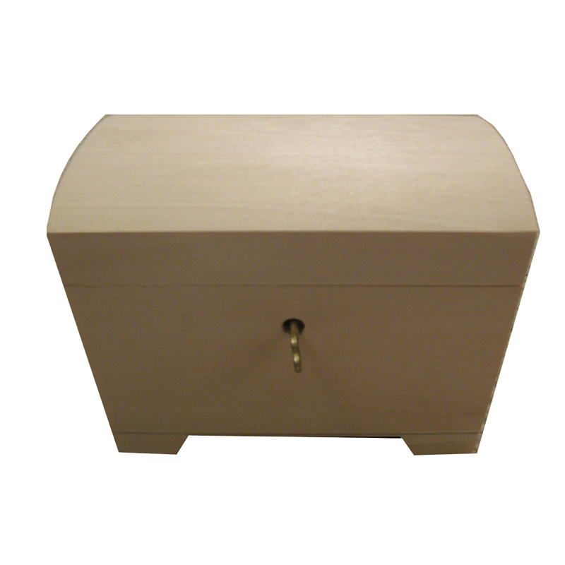 Plain Unfinished Wooden Jewellery Box With Lock And Tray