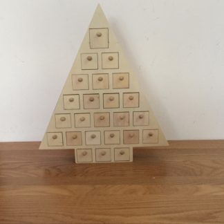 Wooden Advent Calendar Christmas Tree to decorate - plain unfinished craft blanks kit