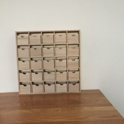 Unfinished Wood Advent Calendar Plain Craft Blanks to decorate for Christmas - 25 drawers