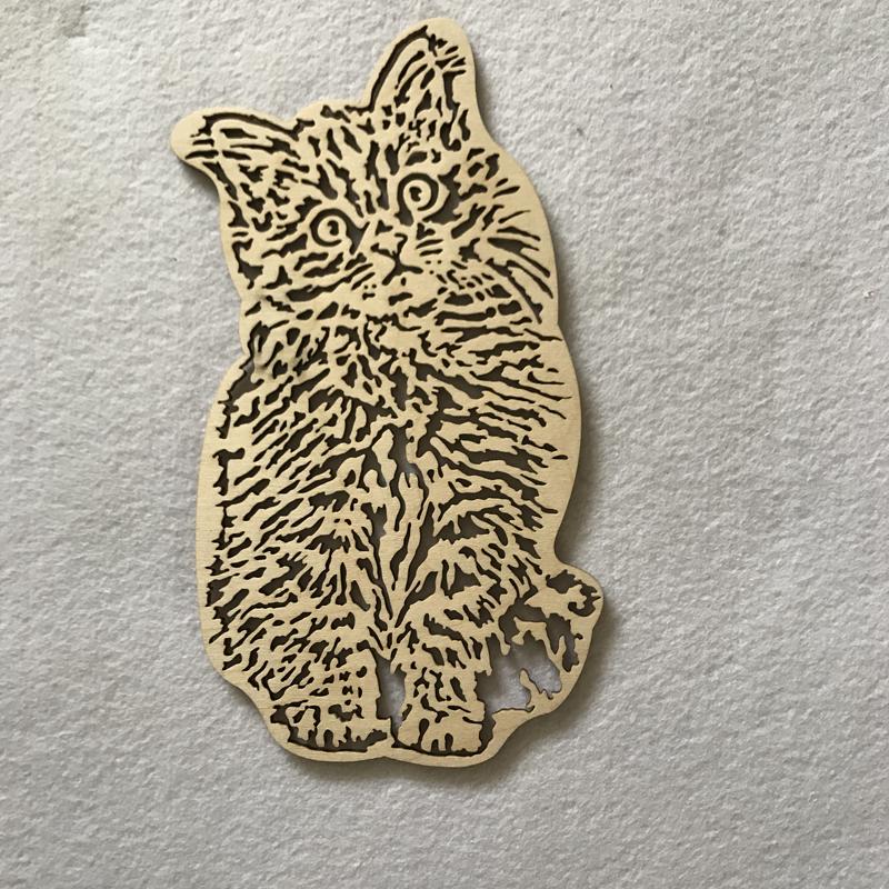 Wood Craft Shape Fluffy Cats