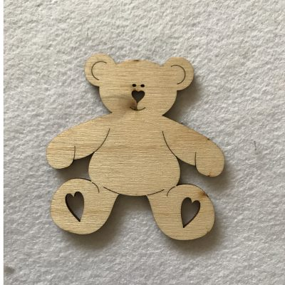Wood Craft Shapes Teddy Bear Hearts
