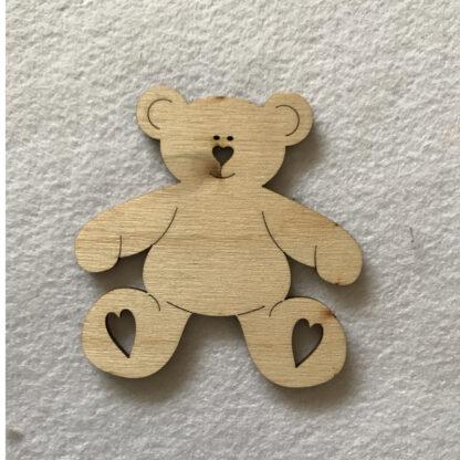 Wood Craft Shapes Teddy Bear Hearts
