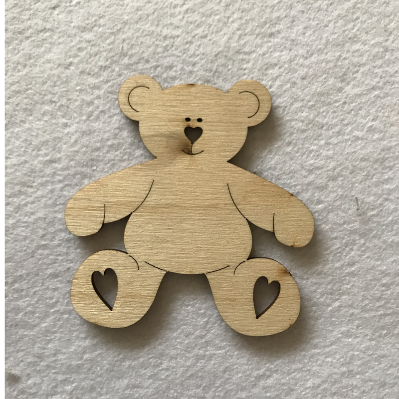 Wooden craft shapes teddy bear with hearts for Wooden hearts for crafts